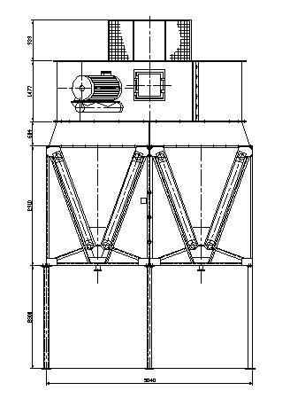 Сухая градирня с W-образными охлаждающими элементами (вентиляторная градирня)