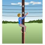 Влезая на опору линии электропередач ты подвергаешь свою жизнь опасности